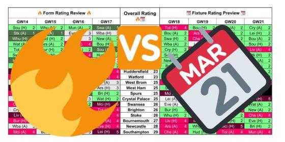 Form Fixture Gameweek 18