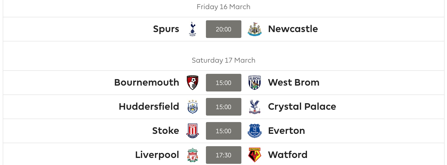 Gameweek 31 Fixtures