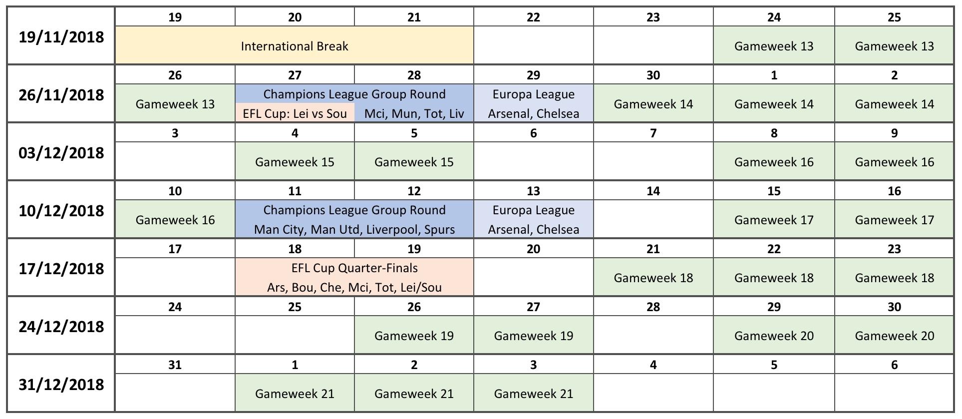 Festive Fixture Calendar