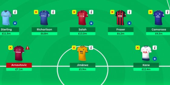 Gameweek 16 Team