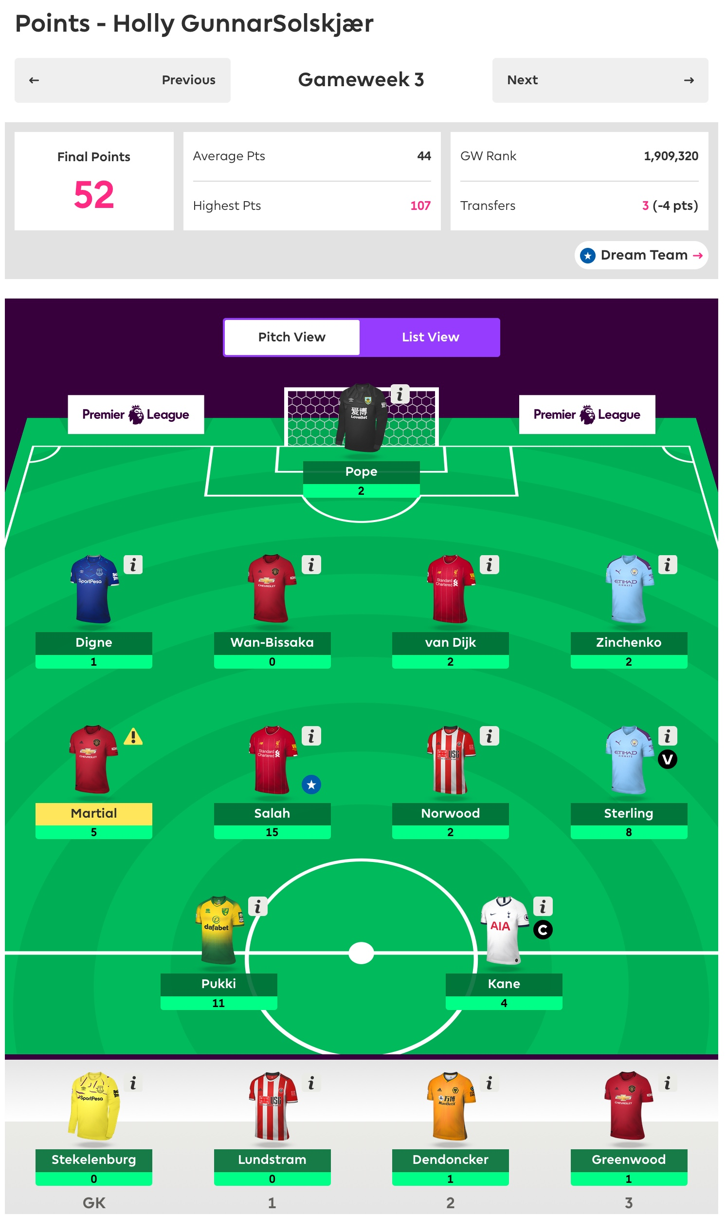 Gameweek 3 Review