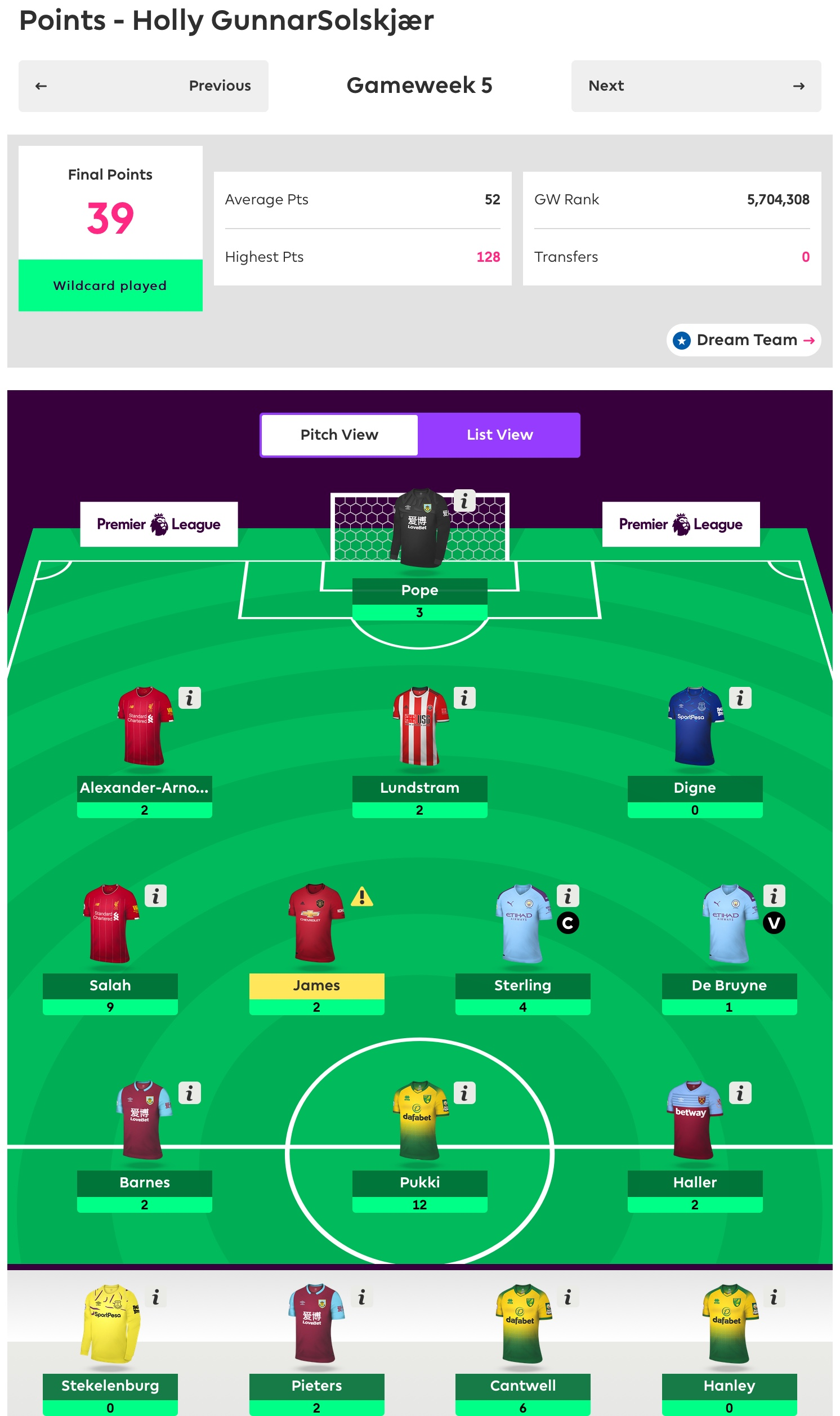 Gameweek 5 Review