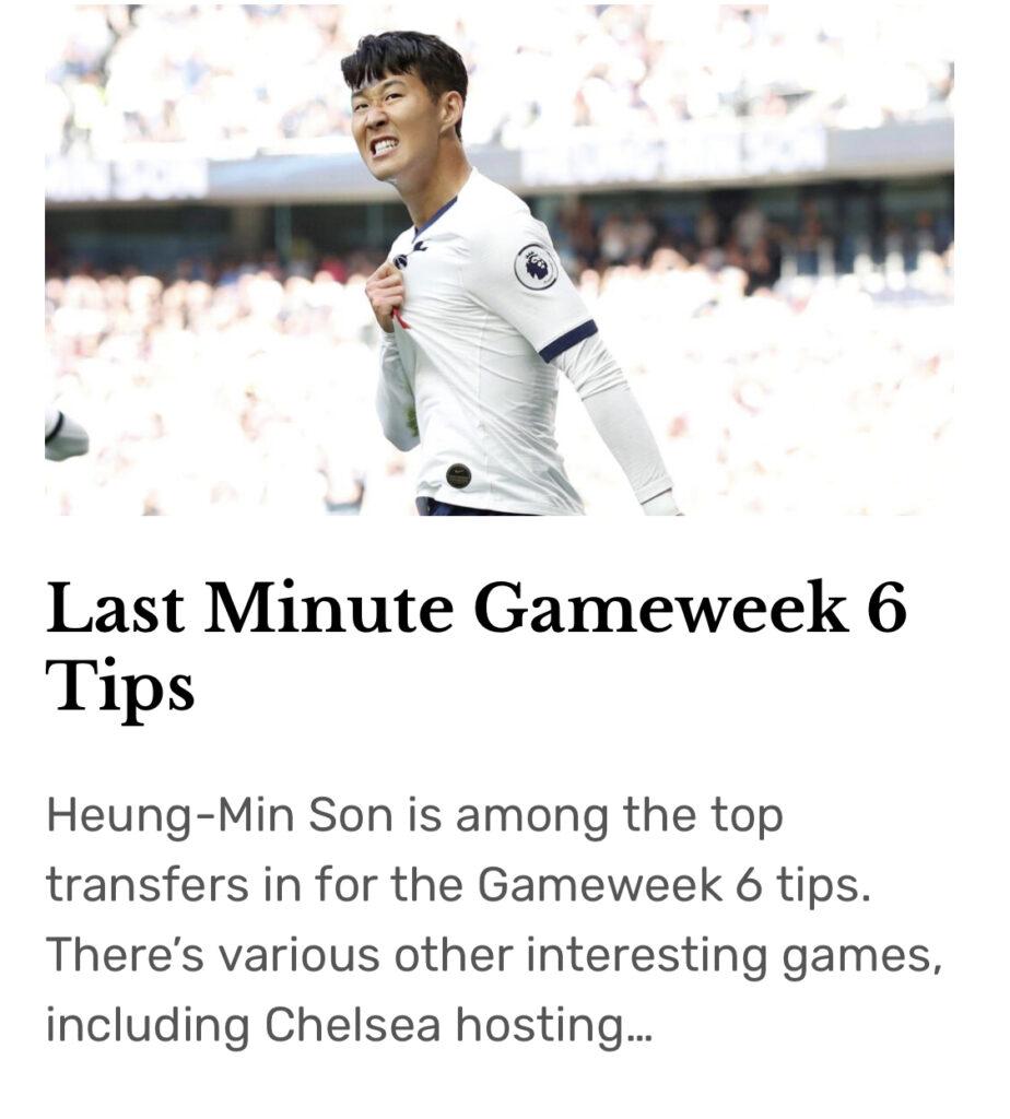 Gameweek 6 Tips