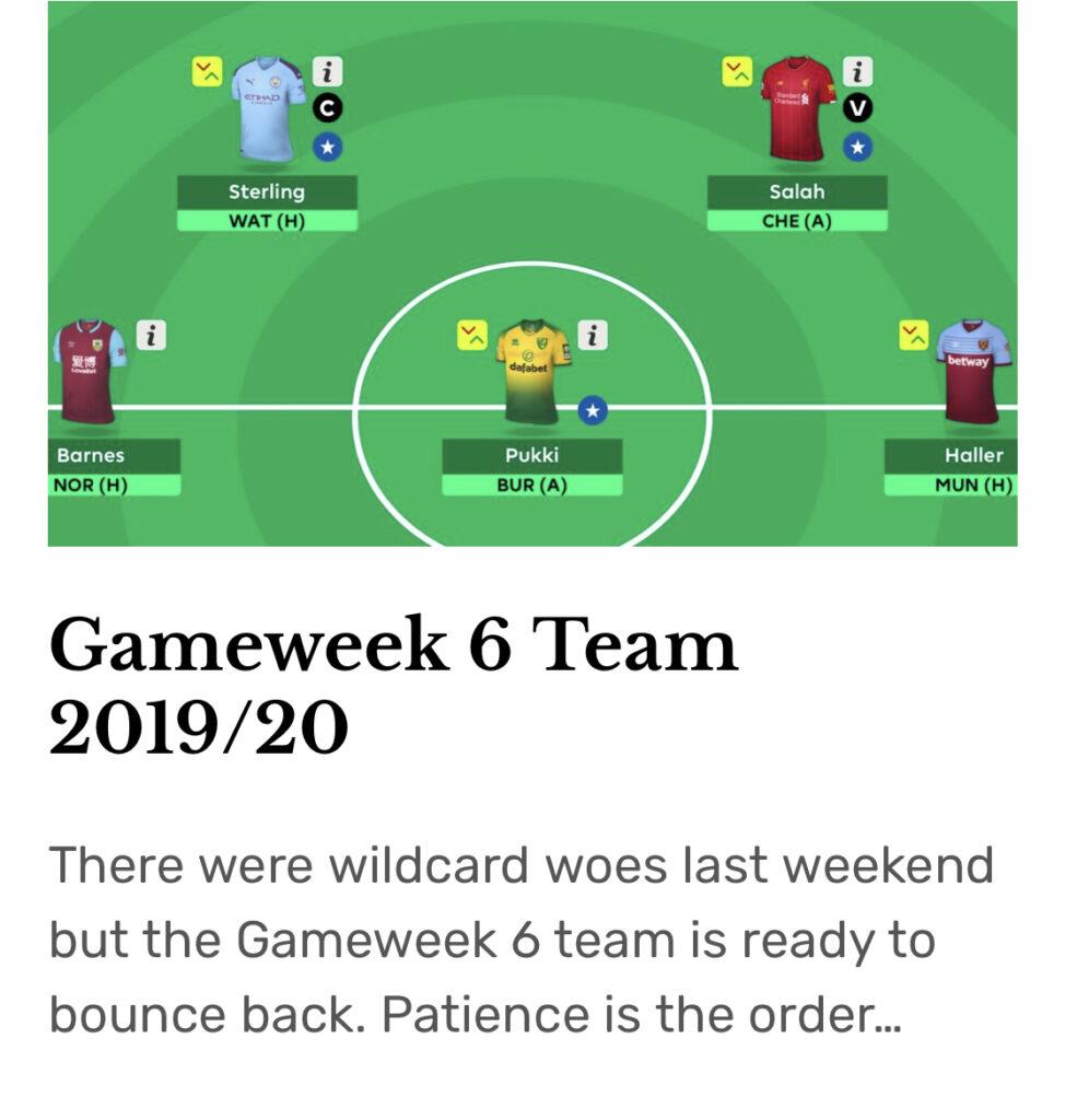 Gameweek 6 Team