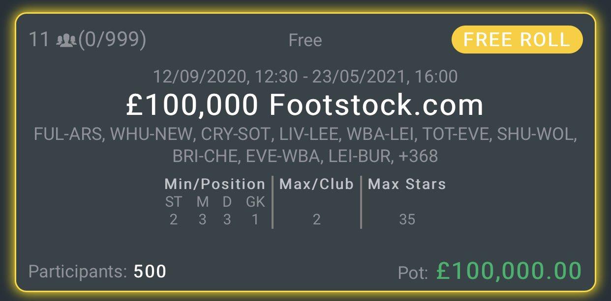 Footstock 100K Freeroll