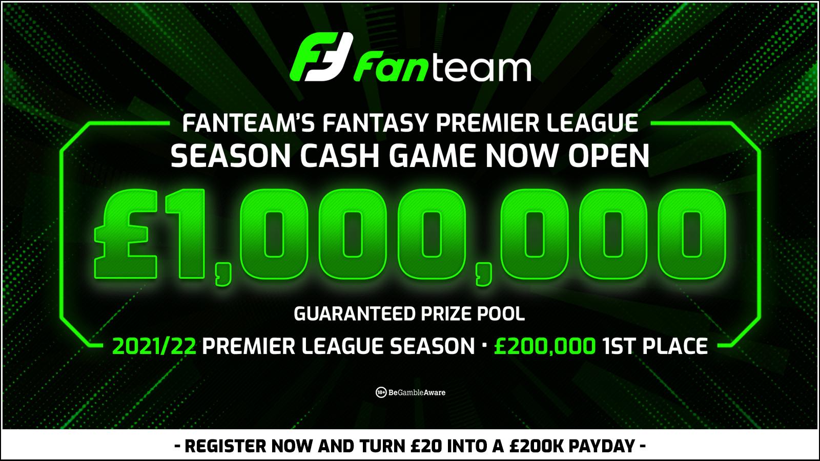 Win A Share Of 1 000 000 In Fanteam S Fantasy Premier League Cash League Fantasy Football Community
