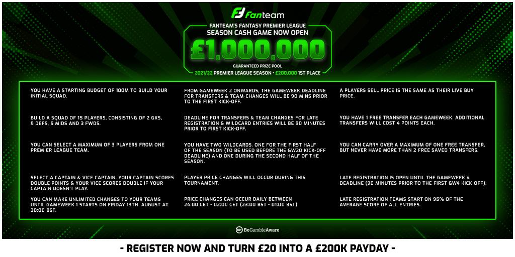 FanTeam Million Rules